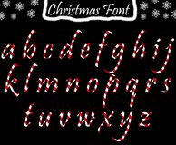 Christmas abc from lowercase letters. Alphabet transparent and isolated on black background vector illustration