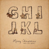 Christmas abc. Retro christmas alphabet - g, h, i, j, k, l - vintage letters on realistic old parchment background, with symbols of holiday, decorative artistic Royalty Free Stock Photography