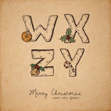 Christmas abc. Retro christmas alphabet - w, x, z, y - vintage letters on realistic old parchment background, with symbols of holiday, decorative artistic Stock Photography