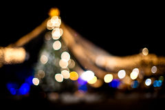 Christmas Abstract. Christmas tree lights, defocused, on black Stock Photo