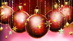 Christmas abstract background with big decorated balls at the foreground. Royalty Free Stock Images