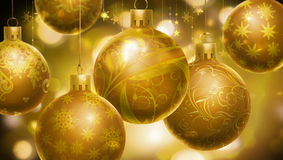 Christmas abstract background with big golden decorated balls at the foreground. Stock Image