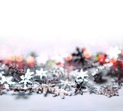 Christmas abstract background, bokeh and snowflakes Stock Photo