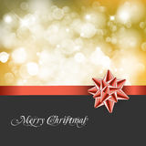 Christmas abstract background card. Golden ribbon with bow and Christmas abstract background Stock Photo
