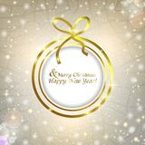 Christmas abstract background from the Christmas ball with bow. Abstract background with Christmas balls and glitter Royalty Free Stock Photography