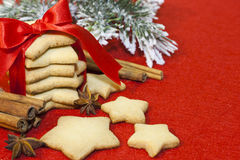 Christmas abstract background with cookies on red Royalty Free Stock Photography