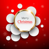 Christmas abstract background. 3D overlapping circles, vector design royalty free illustration