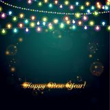 New Year abstract background with light garland Stock Photo