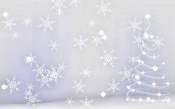 Christmas Abstract Background. With snow and tree in white Royalty Free Stock Photo