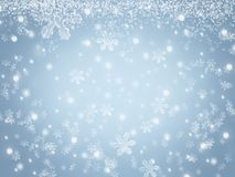 Christmas background with snowflakes and stars falling in winter sky. Christmas abstract background with snowflakes and stars falling in blue winter sky. Snow stock photos