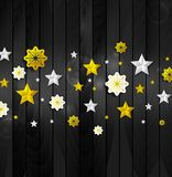 Christmas abstract background with stars and snowflakes. Bright golden silver stars and snowflakes on dark wooden background. Christmas or New Year 2018 vector Royalty Free Stock Image