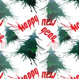 Christmas abstract beautiful artistic bright holiday winter green spruce trees with blots and lettering happy new year pattern wat Royalty Free Stock Photos