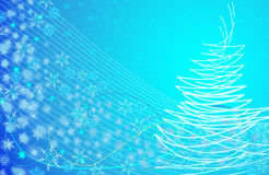 Christmas abstract blue background. Abstract Christmas blue background with snowflakes and a Christmas tree Royalty Free Stock Photos