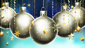 Christmas Abstract Blue Background With Big Silver Decorated Balls At The Foreground. Stock Photography