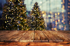 Christmas abstract blur background. Light bokeh from Xmas tree at night party in winter. vintage color tone Royalty Free Stock Photography