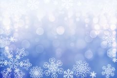 Christmas abstract winter shiny snow bokeh background with unique snowflakes stock photos