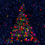 Christmas Abstract Bokeh Tree on blue background. Christmas abstract bokeh tree on blue balls background Stock Photo
