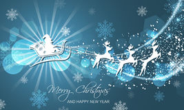 Christmas abstract greeting card. Flying Santa on sleigh with reindeer. Royalty Free Stock Images