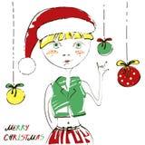Christmas abstract illustration. Christmas abstract illustration of the cool girl. Merry Christmas Vector Illustration