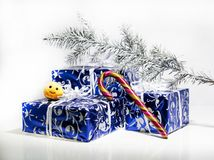 Christmas abstract photo. Some holiday decorations isolated on white background Stock Image