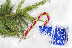 Christmas abstract photo. Some holiday decorations isolated on white background Royalty Free Stock Image