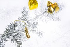 Christmas abstract photo. Some holiday decorations isolated on white background Royalty Free Stock Photo
