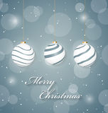 Christmas abstract poster with hanging christmas balls Royalty Free Stock Photos