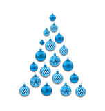 Christmas Abstract Tree made in Blue Glass Balls Royalty Free Stock Photo