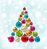 Christmas Abstract Tree Made in Colorful Balls. Illustration Christmas Abstract Tree Made in Colorful Balls, Snowing Background - Vector vector illustration