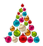 Christmas Abstract Tree made in Colorful Balls Royalty Free Stock Photos