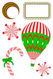 Christmas Abstracts. Christmas set has hot air balloon, snowflakes with hearts, candy cane, abstract circles, and rectangle frame with dots Stock Photo