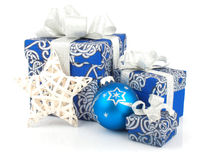 Christmas accessories in blue Royalty Free Stock Photos