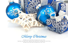 Christmas accessories in blue Stock Images