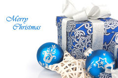 Christmas accessories in blue Stock Photo