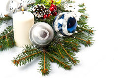 Christmas accessories in blue & fir tree branch Royalty Free Stock Photo