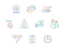Christmas accessories color line icons set. Christmas accessories and gifts. Winter holidays. Merry Xmas and Happy New Year. Stylish flat color line icons set Royalty Free Stock Photo