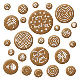Christmas accessories gingerbread. With white sugar topping Royalty Free Stock Image