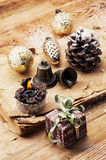 Christmas accessories in vintage style Royalty Free Stock Photography