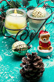 Christmas accessories in vintage style Royalty Free Stock Photos