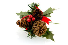 Christmas accessory. With pine cones isolated on white background royalty free stock photos