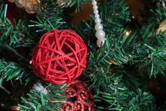 Christmas accessory. Christmas decorations on a tree stock photos