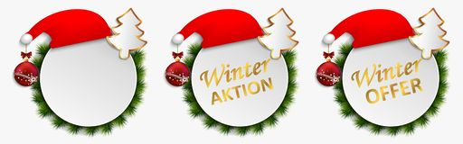 Christmas action offers vector dial buttons isolated, banner winter discount action. Set of keys with gifts - Christmas sales. Christmas products – vector illustration