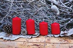 Christmas Advent burning candles stock image