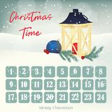 Christmas Advent calendar, background, poster with lantern, fir-tree and ball. Winter scene. Vector illustration for. Christmas Advent calendar, background Stock Image