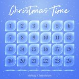 Christmas Advent calendar, background, poster made of ice floes. Winter scene. Vector illustration for Holiday Stock Image