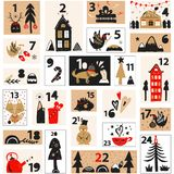 Christmas advent calendar. A collection of winter postcards for Christmas and Christmas break .Vector illustration Royalty Free Stock Photo