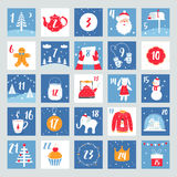 Christmas Advent Calendar. Countdown Poster. Winter Holidays Design Elements Stock Photo