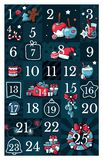 Christmas advent calendar, cute hand drawn doodle style. Twenty five christmas countdown printable tags collection with vector illustration
