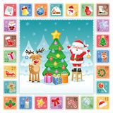 Christmas Advent Calendar with cute Santa Claus, Deer and Christmas decorations. Vector illustration. Flat design without transparency vector illustration