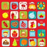 Christmas Advent calendar. 25 days colorful countdown icons with traditional New Year holidays symbols.  stock illustration